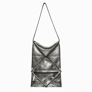 ARAM LEE Anthracite Metallic Silver Leather Bag